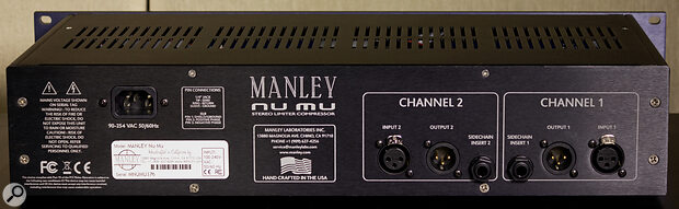 Both channels feature a side‑chain insert point on the rear panel.