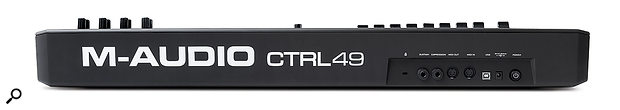The CRTL49's back panel features quarter-inch inputs for sustain and expression pedals, MIDI I/O ports, a USB port and a socket for the external PSU.