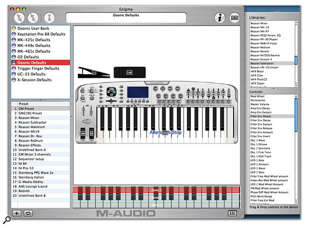 M-Audio's free Enigma makes editing Ozonic controller assignments easy — you can just drag and drop controller assignments from the surrounding menus on to the Ozonic graphic.