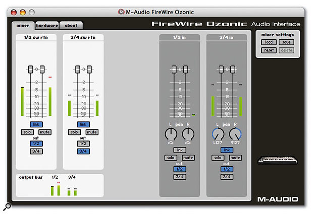 The basic mixer page in Ozonic's software Control Panel: see what's going where, complete with metering.