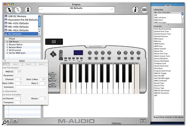 Editing profiles using M‑Audio's splendid (and free!) software editor, Enigma.