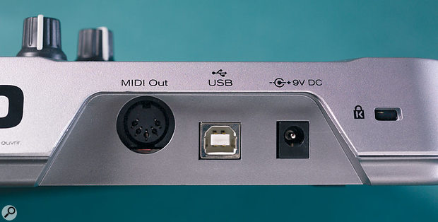 The back-panel view, featuring simply MIDI Out, USB sockets and a 9V power input.
