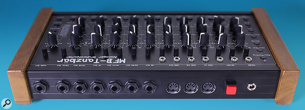 The back panel features a range of shared and dedicated audio outputs on stereo quarter-inch jack sockets, two MIDI In ports and one MIDI Out port, and an input for the external power supply. Additionally, there are seven CV/Gate sockets on the Tanzbär's main panel.