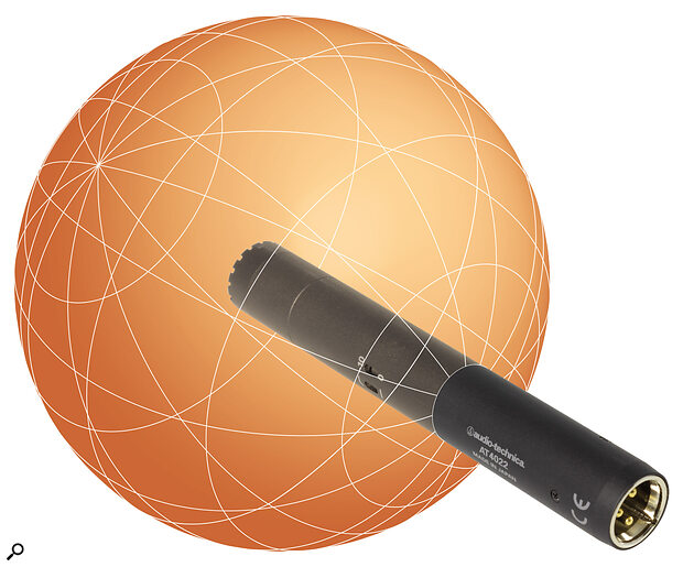 Omnidirectional mics, such as this Audio‑Technica AT‑4022 small‑diaphragm capacitor model, are equally sensitive to sounds arriving from all directions. Hence, the polar pickup pattern is a sphere centred on the capsule. Importantly, off‑axis and on‑axis sounds have the same tonal balance, and an omni mic has no proximity effect bass boost.