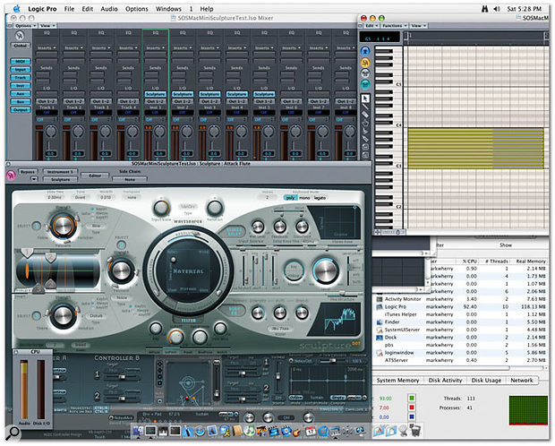The Mac Mini is capable of running five eight-voice instances of Sculpture in Logic Pro 7.0.1, as shown here.