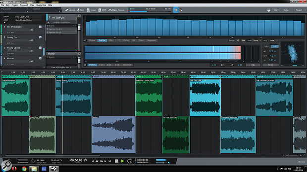 Although mastering is slightly outside the scope of this article, you still have to mix with the end result in mind. To that end, it can be helpful to arrange your mixes in a mastering-style setup, as shown here in PreSonus Studio One Professional, playing with the order of tracks, assessing the relative levels and tonality, and so on.