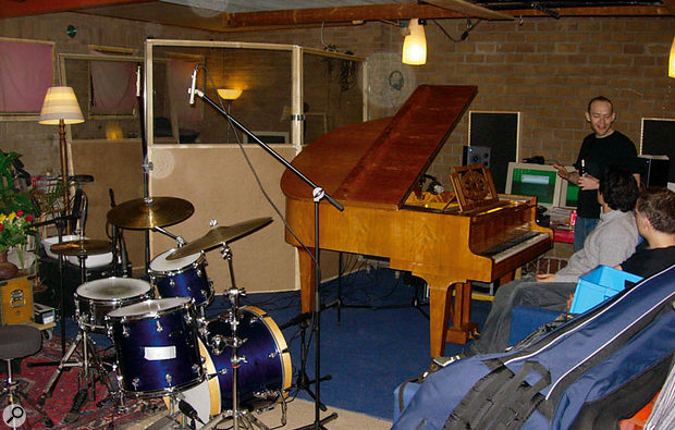 Here you can see how the instruments were set up for Jesper's recording, with the bass isolated from the drums and piano using part-glazed screens.