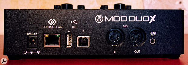 The rear panel includes MIDI I/O, coaxial S/PDIF out and USB connectivity, as well as an Ethernet socket for MOD's optional Footswitch.