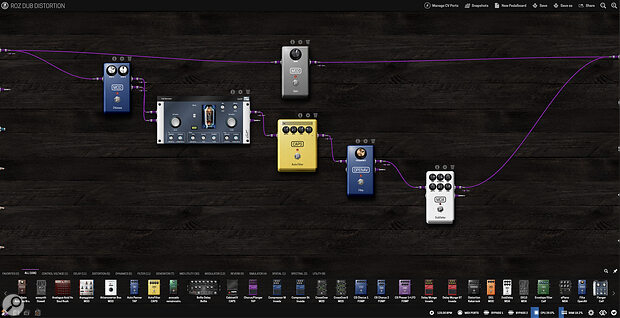 The pedalboard editor makes connecting plug‑ins easy with drag‑and‑drop virtual cabling.
