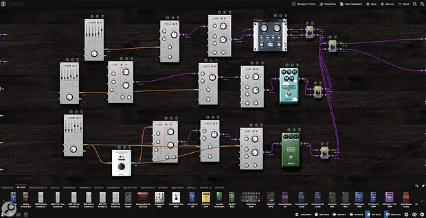 Pedalboards are not just for guitar effects. Here's a drum machine taken from the pedalboards library.