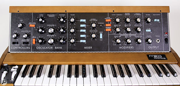 The new Model D's front panel is identical to the original's except for the addition of the switches in the Controllers section.