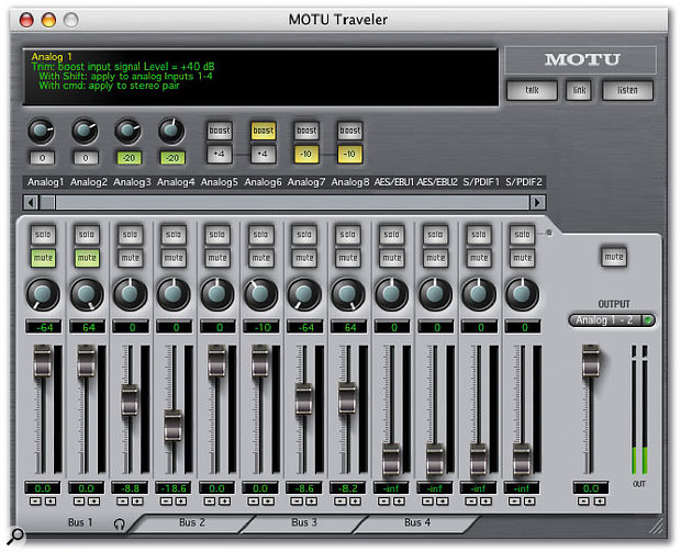 The bundled Cuemix Console software controls the Traveler's zero-latency monitoring. Any four output pairs can be chosen to carry completely independent monitor mixes, and settings can then be saved as presets for later recall.