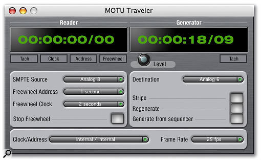 For those working with video and timecode audio sources, the Firewire SMPTE Console software configures the Traveler for receiving and generating SMPTE via its analogue connections.