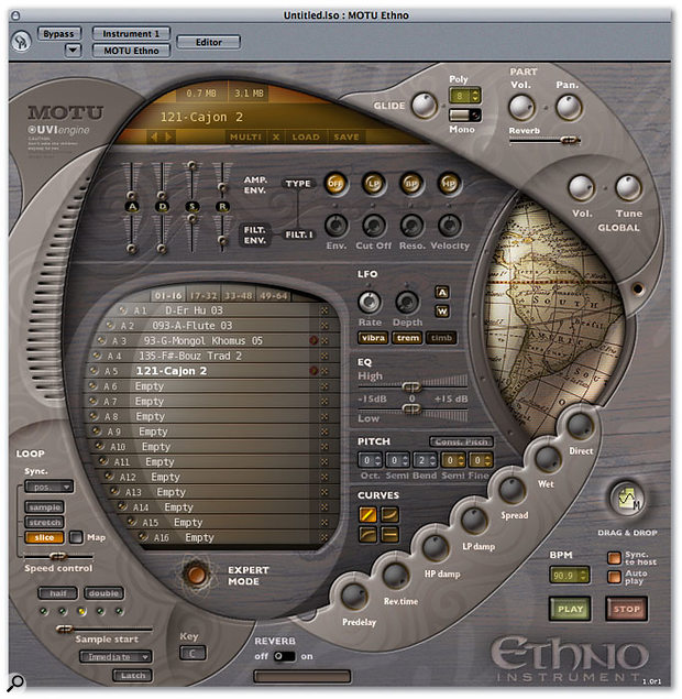 Ethno's main screen, hosting the part list (centre left); sound-editing facilities (including amplitude and filter envelope controls, filter parameters, LFO section and High/Low EQ); reverb parameters; and even a map of the world that scrolls to show the geographic origin of the selected sample!