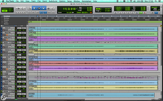 Although there were only three main instruments and one vocal, the multitrack for 'Curtis Stirling' contained a total of 12 audio tracks. As you can see, three of them ended up unused.