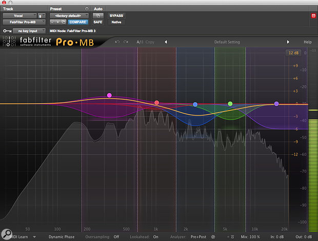 In places, Drew's vocal sounded thin and harsh. Using a multiband compressor rather than an EQ allowed me to correct the tone only where needed.