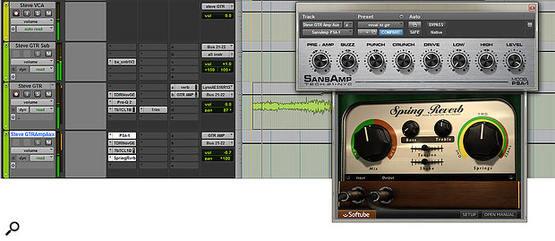 The lead acoustic guitar part was not only treated to some fairly detailed EQ'ing, but was also panned to one side and sent to an aux channel on the opposite side. Here, the sound was treated to a SansAmp distortion plug-in and some spring reverb to mimic the amped setup used by the band on stage.