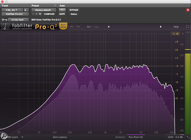 The FabFilter EQ helped reveal the lack of low frequencies below 200Hz on the snare drum.
