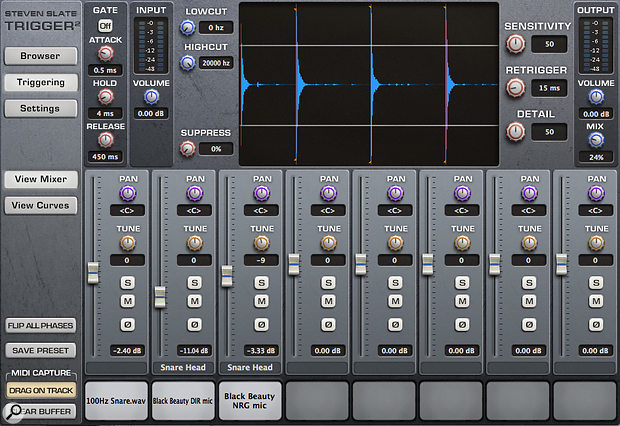 Using the Slate Digital Trigger I blended in some samples to help fill out the piccolo-style snare drum.