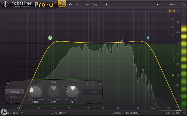 The natural bumps created by high- and low-pass filters were used to help subtly shape the guitar tracks.