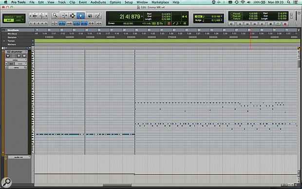 This screen shows the second verse and chorus MIDI data for the new drum track I added in Toontrack's EZ Drummer.