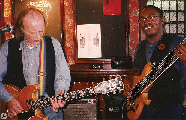 The Roger Hill Band in action: with Roger Hill (left) on guitar and Roger Inniss playing bass.