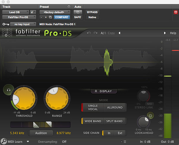 The Fabfilter Pro-DS was then used to control some sibilant side effects from the heavy compression.