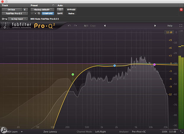 Drastic EQ was required on the drum overheads in order to remove the unpleasant boxy-sounding low frequencies.