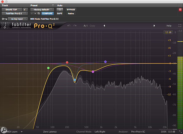 A generous helping of EQ was used on the 'real' snare drum.