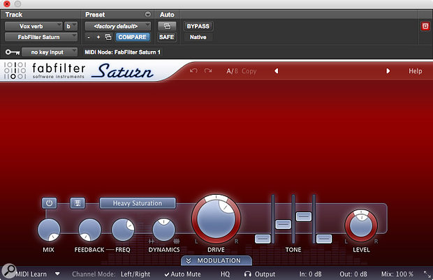 Numerous but small amounts of saturation style plug-ins were used on the mix, including the Fabfilter Saturn on the main Reverb return.