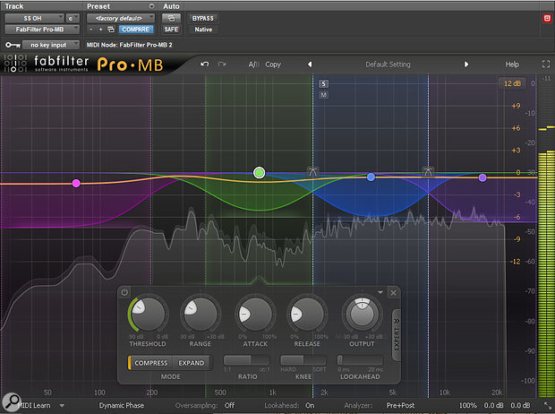 FabFilter's Pro-MB multiband compressor was used to control the very generous low end on the drum overheads.