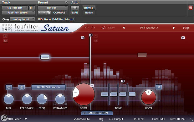FabFilter's Saturn plug-in was used to add a sense of excitement in the lead vocals' mid-range.