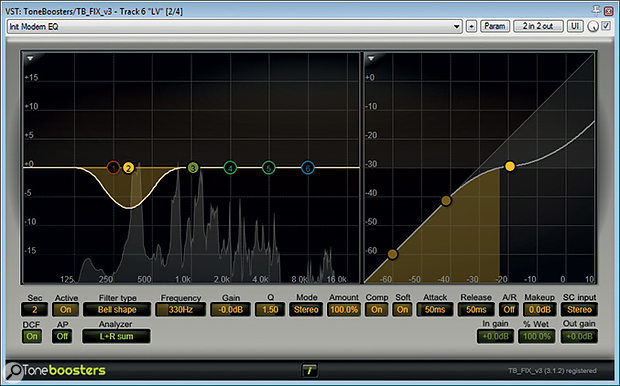 To counteract some variability in the degree of proximity-effect bass boost on the recording, Mike used a band of dynamic EQ from ToneBoosters' TB_FLX to compress with a soft knee at 330Hz.