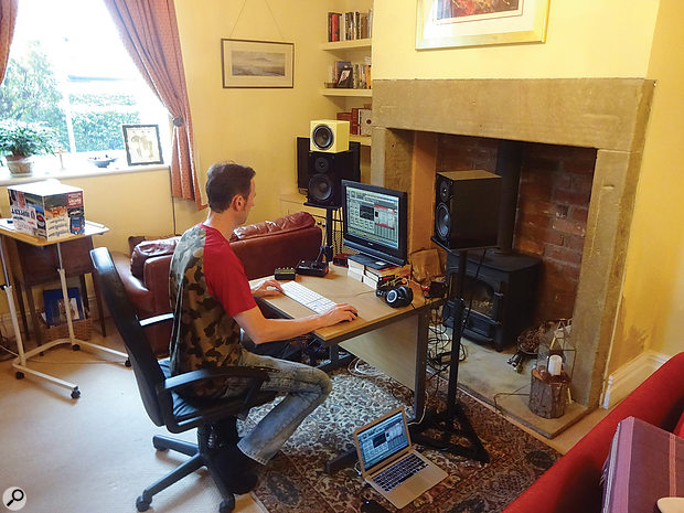 This month's Mix Rescue project took place in SOS reader Isaac Ellis's living room, using his no-frills laptop Pro Tools setup and its bundled plug-ins. The speakers you can see are NHT's budget-friendly SuperOne 2.1 nearfields and an Avantone MixCube.