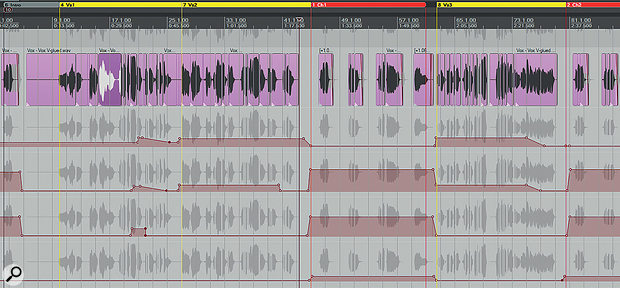 Here you can see the automated send levels for all four lead-vocal effects (top to bottom): a basic chamber reverb from Lexicon's PCM Native Chamber plug-in; a  ong-tail multi-effect chain comprising GVST GRevDly, Cockos ReaDelay, Lexicon Random Hall and Dead Duck Delay; a four-tap 3/16 tempo-sync'ed ping-pong delay from Cockos ReaDelay; and a stereo widener based around pitch-shifted micro-delays.