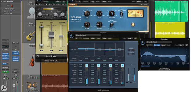 As well as using Waves Bass Rider and a compressor to manage the bass levels, a multiband compressor was used to tackle the playing noises that had been somewhat overemphasised by the pickup, while a chunky EQ boost compensated for the pickup's lack of warmth and fullness.