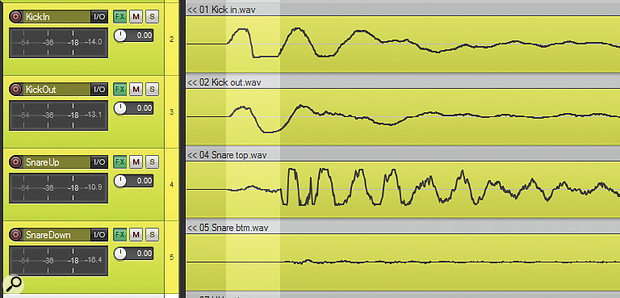 Here you can see one of the flammed kick-snare hits that were replaced as part of the drum-editing preparation for this month's mix.