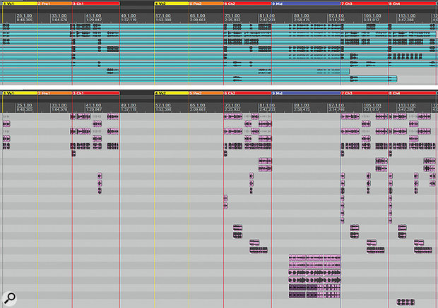 In the upper screenshot you can see the eight stereo backing-vocal tracks that were part of the original multitrack, whereas the lower screenshot shows how Mike split and multed that audio over 26 tracks for mix purposes.