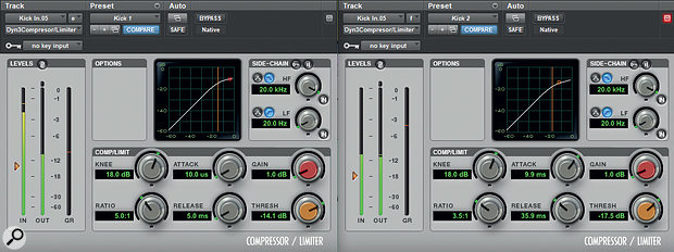 Two instances of Pro Tools' stock compressor were used in series on the kick drum.