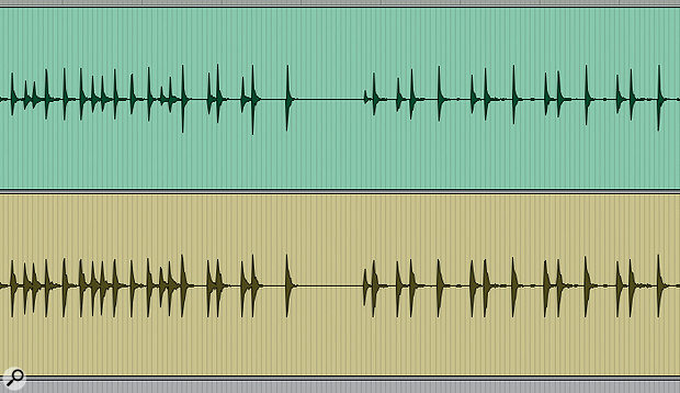 You can see in the 'before and after' images of the waveform how the compression reduced the difference in level between the quietest and the loudest hits.