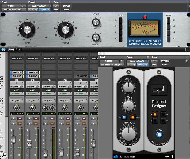 UAD 1176 Rev A and SPL Transient Designer plug‑ins were used to 'suck' ambience from the drum room tracks for a claustrophobic, dry sound.