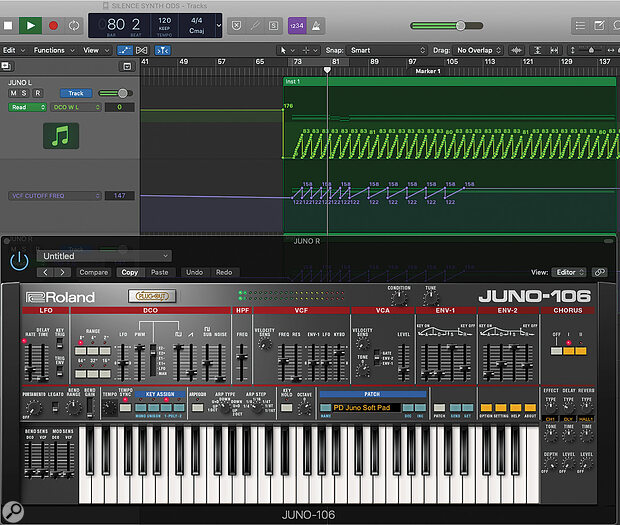 A new (emulated) Juno 106 part was automated to create an evolving stereo pad sound, which enhanced the synths already in the production.