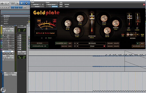 Automating the level and pre-delay time of aKush Goldplate reverb served to enhance the Juno pad sound and create aswelling effect.
