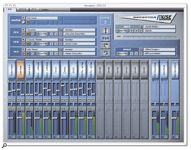 The Receptor Remote Control application replicates the hardware's own GUI on your networked computer. Here, the main page is snapped on a Mac and provides a good snapshot of what's going on inside the hardware, showing how much like a traditional mixing environment the OS is. The first two channels are given over to a guitar input and the audio from a workstation synth, each processed by their own trio of effects. The remaining eight channels in this example accommodate a virtual instrument each, again with 'insert' effects, and the whole is treated to a pair of send/return effects, plus master processing on the main stereo output fader.