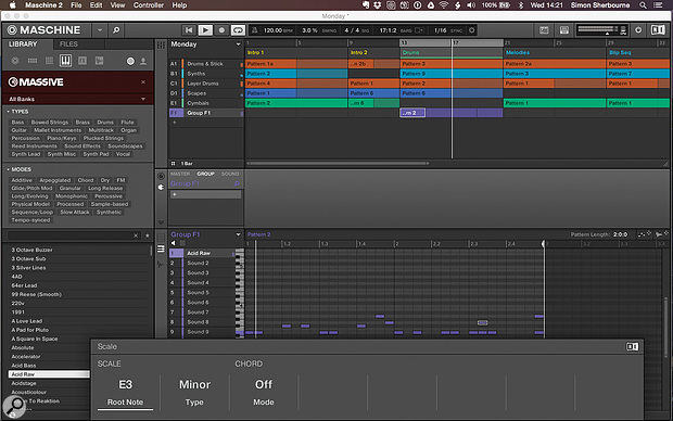 The Jam has multiple scale and chord options when working in the piano roll in sequencer or keyboard modes.