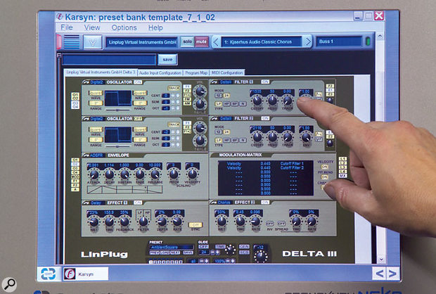 Editing Linplug's Delta III plug-in synth via Karsyn. Once you've experienced the touchscreen, using standard computer monitors will never be the same again!