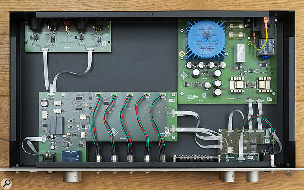 The internal layout is roomy, but extremely well engineered with a linear power supply (top right), headphone amplifier (bottom right), the two preamp channels mounted one above the other (centre) and the I/O board with extensive EMC filtering (top left).