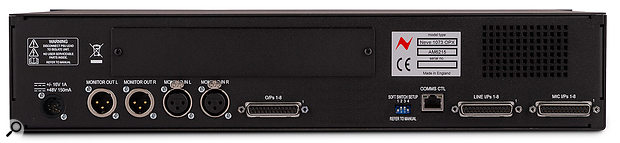 The rear panel includes a space for an optional bolt-in card, which adds both Dante and USB interfacing.