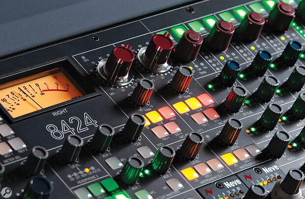 The two 1073 transformer-balanced mic preamps are almost identical to Neve's 500-series 1073LB. As well as having dedicated I/O on the rear, their outputs can be routed to a couple of destinations internally, using the buttons beneath.