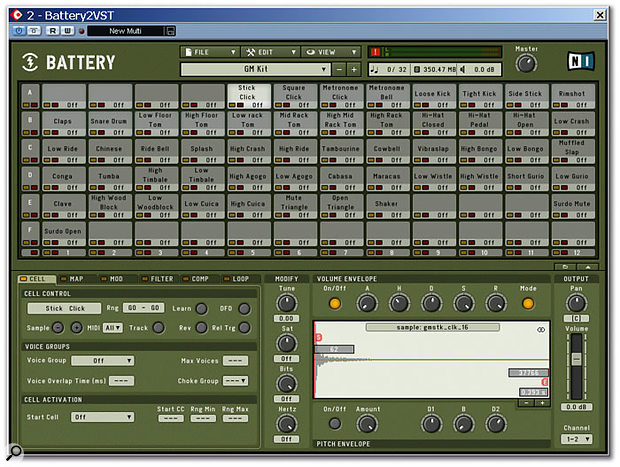 Battery 2 has the same quasi-military look as the original version, as you can see in this shot of the program running under Cubase SX on the review PC. The Master section is the top strip of this window, above the Sample Matrix of grey Cells in the middle, and the Edit Pane is the section at the bottom. The left-hand part of the Edit Pane changes according to the selections made on the tabs at the top left of the pane, as shown in the other screenshots in this article, while the display on the right shows the waveform of the currently selected Cell for editing.